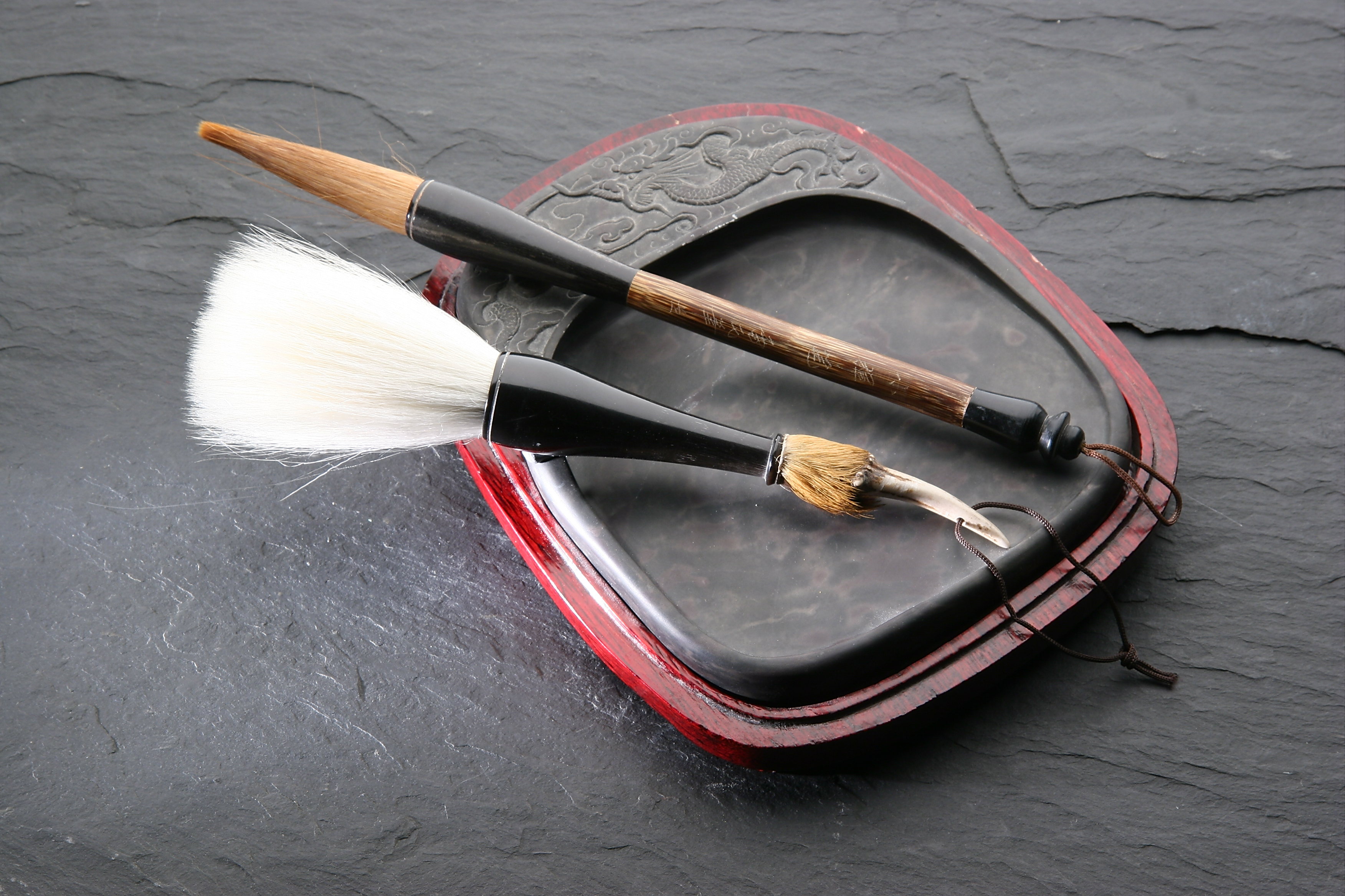 Chinese calligraphy brushes and inkwell.jpg - Chinese calligraphy brushes and inkwell