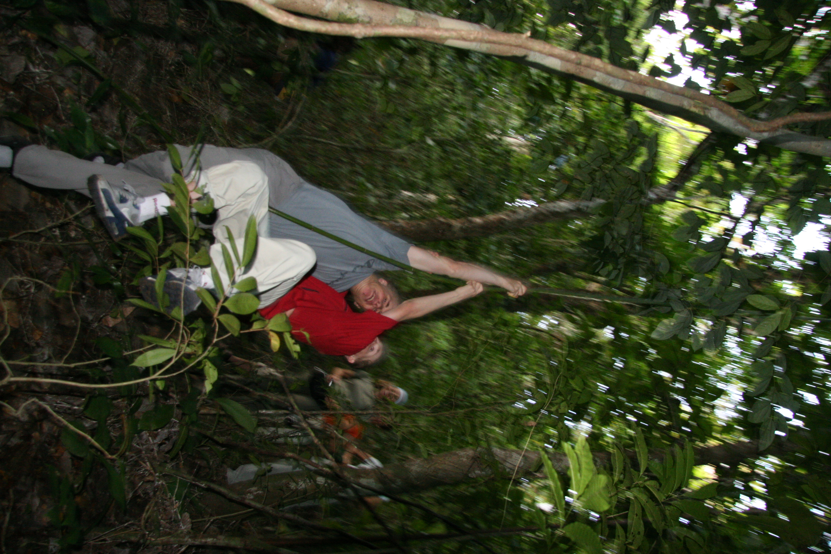 Penanjung nature reserve. Playing Tarzan on the vines, Java Pangandaran Indonesia 3.jpg - Indonesia Java Pangandaran. Penanjung nature reserve. Playing Tarzan on the vines